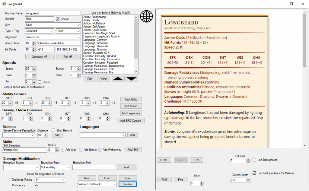 A screenshot of DND Monster Maker when populated with information.