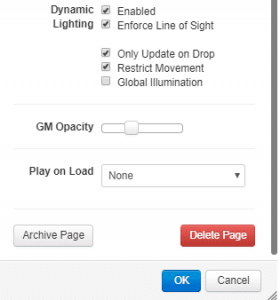 Roll20 Dynamic Lighting Settings
