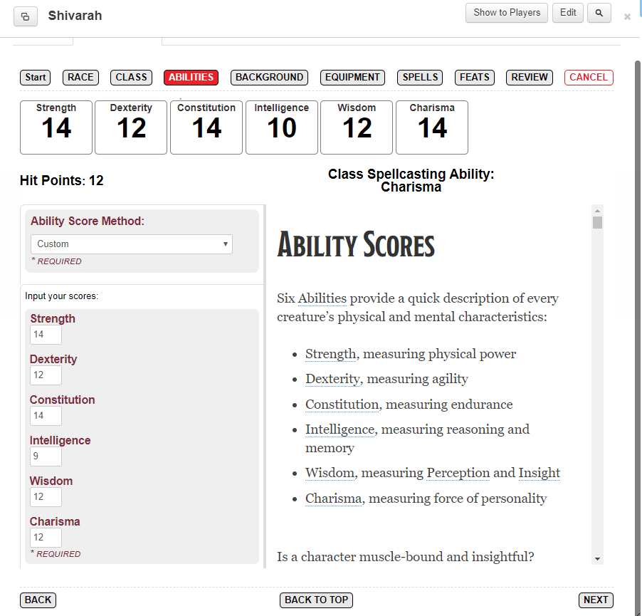 Ability Scores Menu Roll20 Charactermancer
