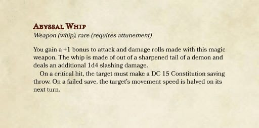 Abyssal Whip Runescape DnD 5e whip homebrew
